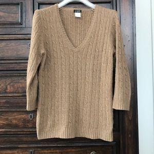 Jcrew 3/4 sleeve cable wool blend vneck